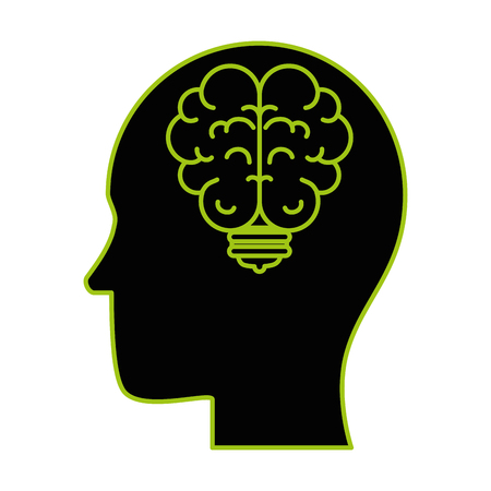 human profile with bulb and brain vector illustration design