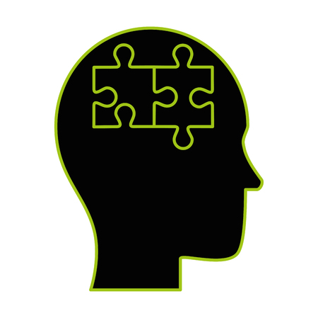 human profile thinking with puzzle pieces vector illustration design Çizim