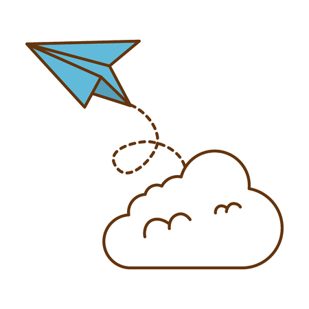 Paper airplane flying with cloud vector illustration design. Illustration