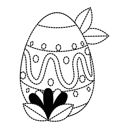 painted easter egg with ethnicity pattern and leafs vector illustration design Çizim