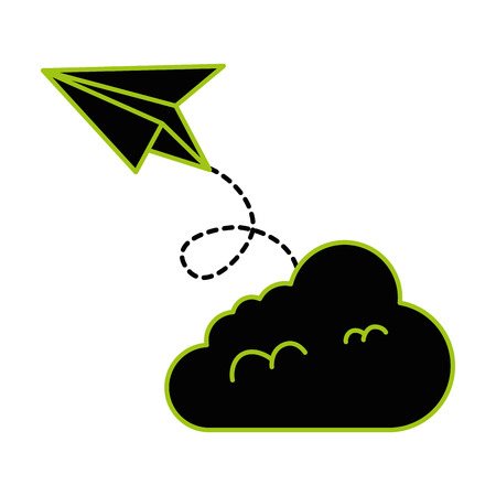 paper airplane flying with cloud vector illustration design