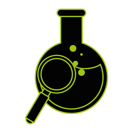 tube test flask with magnifying glass vector illustration design