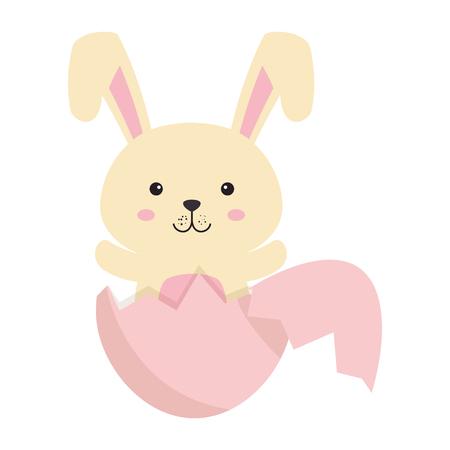 cute rabbit with broken shell egg easter celebration vector illustration design Illustration