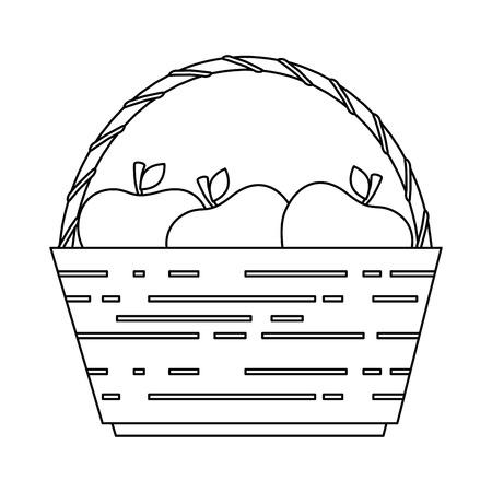 basket with fresh apples vector illustration design  イラスト・ベクター素材