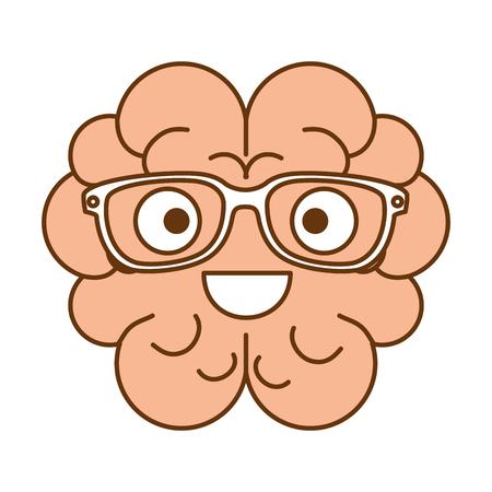 brain with glasses character vector illustration design Illustration