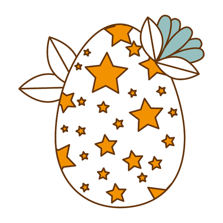 painted easter egg with stars and leafs vector illustration design Illustration