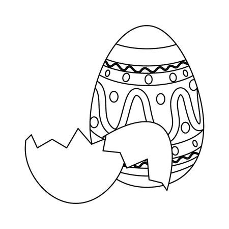 painted easter egg with broken shells celebration icon vector illustration design Illustration