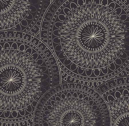 monochrome and circular mandalas pattern vector illustration design