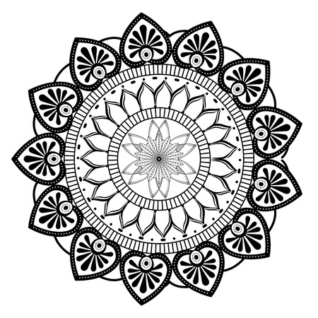 monochrome and circular mandala vector illustration design