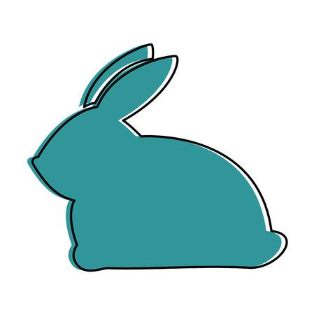 cute rabbit silhouette easter celebration vector illustration design
