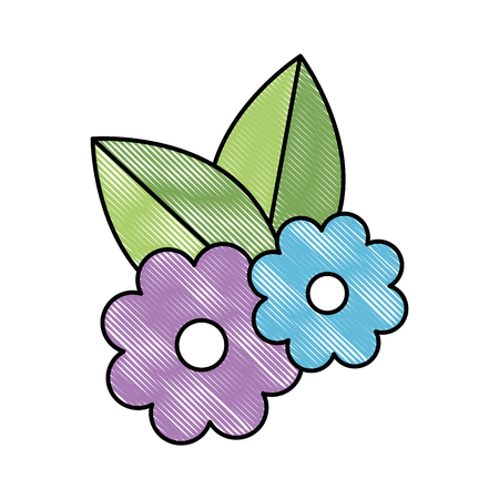 beautiful flowers with leafs decorative vector illustration design