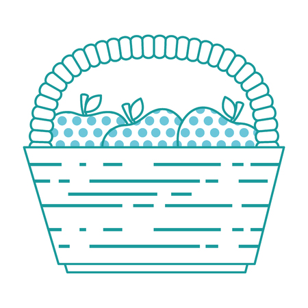 basket with fresh apples vector illustration design Ilustrace