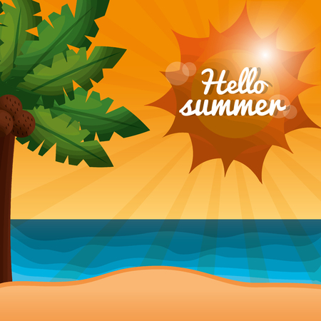 hello summer vacations palm tree with coconuts sunshine day vector illustration