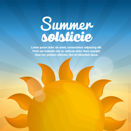 summer solstice vacations day bright sun blue sky shine vector illustration Ilustração