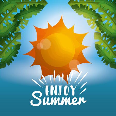 enjoy summer vacations green palm leaves sunshine blurred sky vector illustration