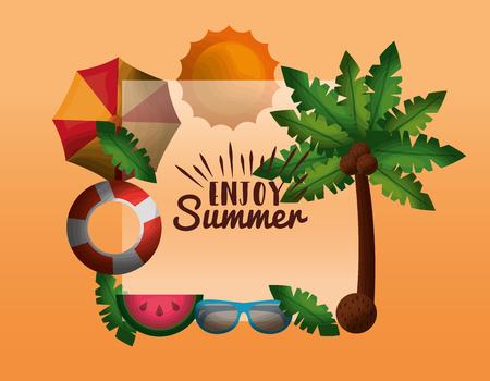 enjoy summer vacations palm coconuts umbrella lifebuoy sunglasses sun and exotic fruit vector illustration Illustration