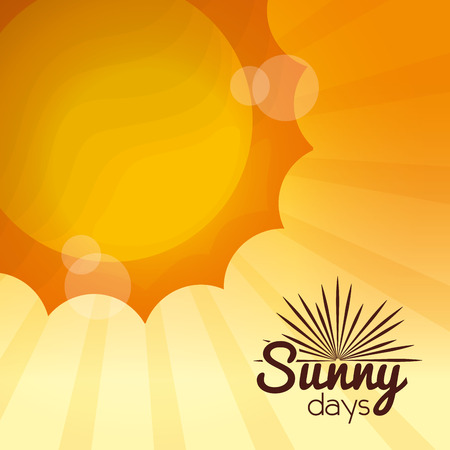 sunny days card summer vacations bright sun with lights blurred background vector illustration Illustration