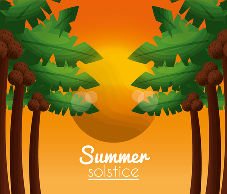 summer solstice vacations sun day with many palms and coconuts vector illustration Illustration