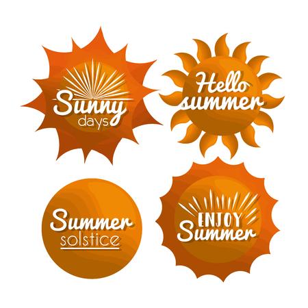 summer stickers sun days hello enjoy  solstice vector illustration