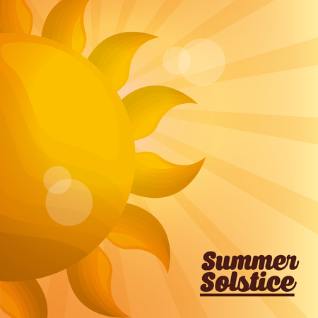 summer solstice vacations lights yellow background sunshine day vector illustration