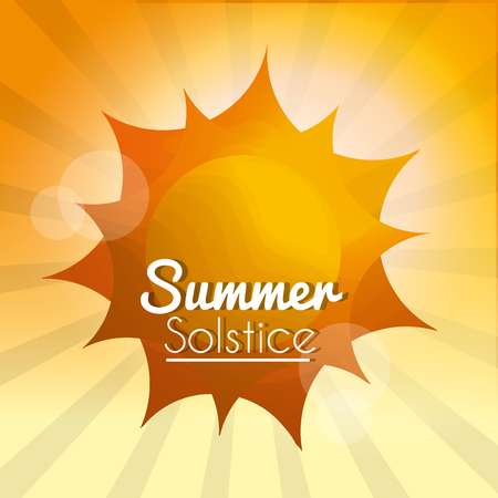 summer solstice sun rays season climate blurred background vector illustration Ilustração