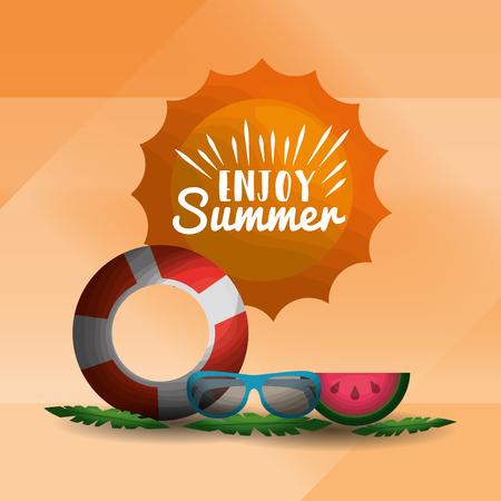 enjoy summer vacations float with glasses watermelon sunshine vector illustration Illustration