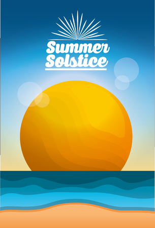 summer solstice season beach sea sun blur image card vector illustration
