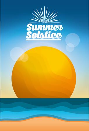 summer solstice season beach sea sun blur image card vector illustration Banco de Imagens - 99329945