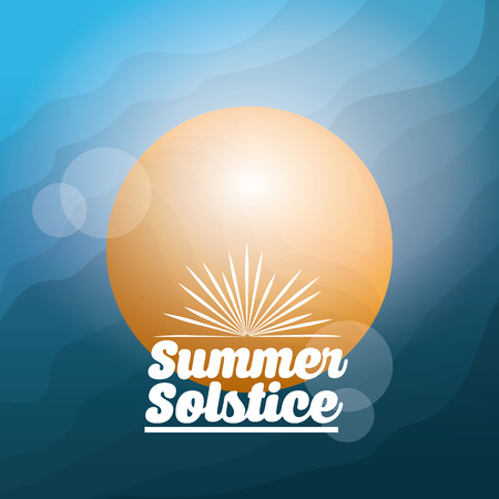 summer solstice season blurred sun shiny hot card vector illustration