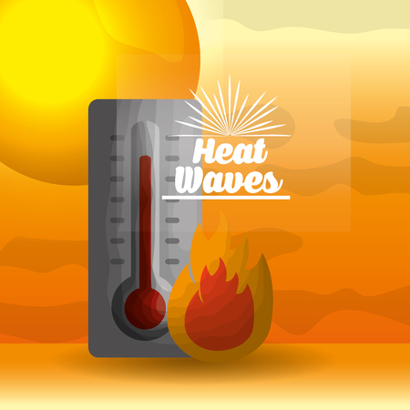 season summer fire with thermometer waves heat sun vector illustration Vettoriali
