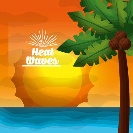 season summer palms coconuts ocean sunshine waves vector illustration