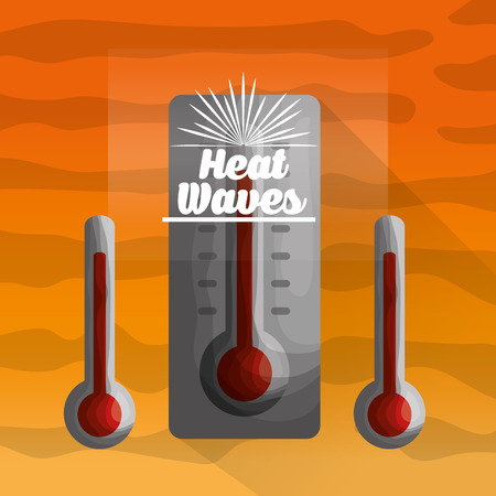 season summer red three thermometers heat waves day vector illustration