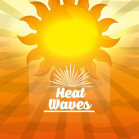 シーズン夏大きな黄色の日差し暑い日熱波ベクトルイラスト