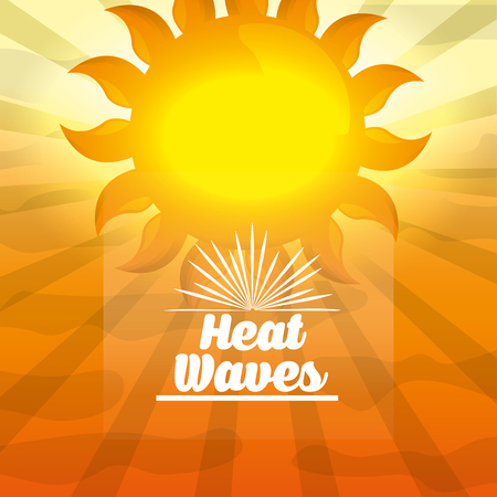 Season summer big yellow sunshine hot day heat waves vector illustration