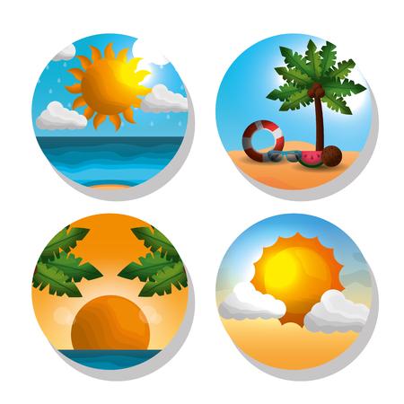 Season summer stickers of sunshine palms coconuts float shine sun palms big sunshine ocean vector illustration Vettoriali