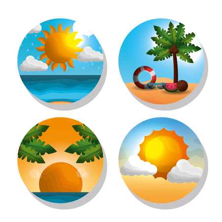 Season summer stickers of sunshine palms coconuts float shine sun palms big sunshine ocean vector illustration Illustration