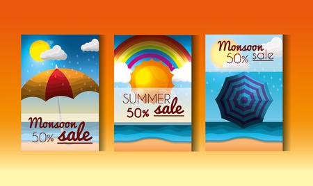 セール日のシーズン夏ラベルは、日差し日傘虹のホットベクターイラストを提供しています