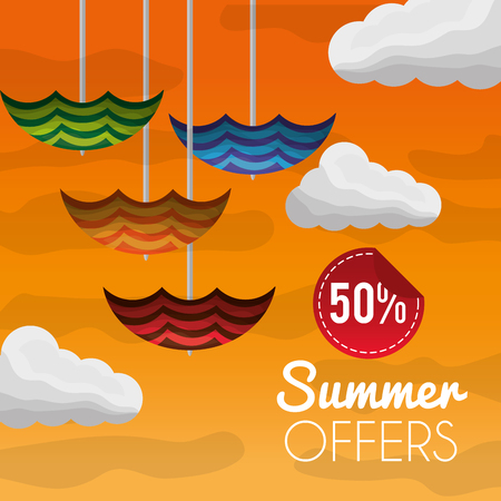 Season summer colorful umbrellas clouds day offers sale degrade background vector illustration