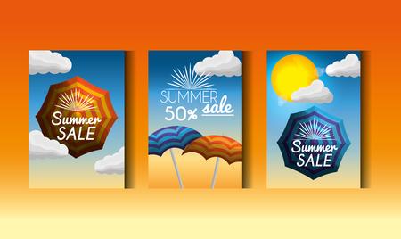 Season summer label hot days umbrellas shine sun offers blue sky vector illustration