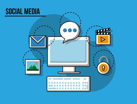 Social media pc keyboard speech bubble vector illustration Illustration