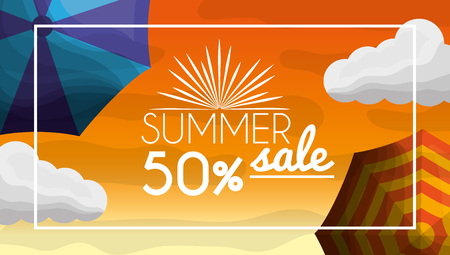 Season summer hot day clouds umbrellas fifty porcent offers nice day vector illustration
