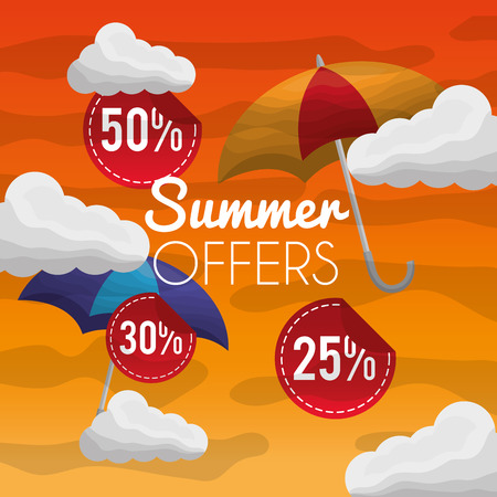 Season summer clouds porcents offers day umbrella fresh day vector illustration Illustration