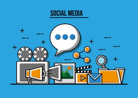 Projector video folder photo marketing share social media vector illustration  イラスト・ベクター素材