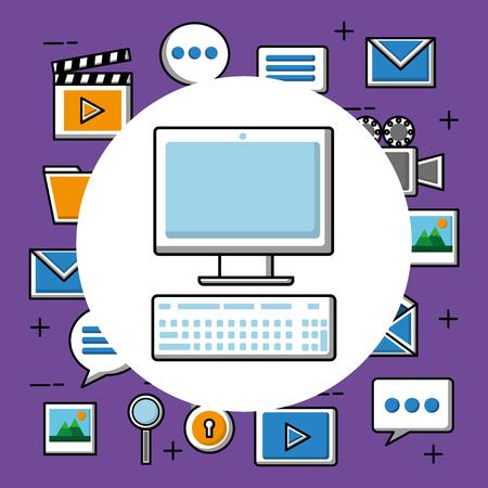 Social media computer gadget digital virtual icons vector illustration Illustration