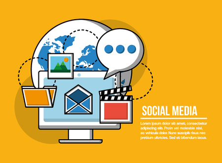 Social media technology devices world with computer open message photos videos media things vector illustration Ilustração