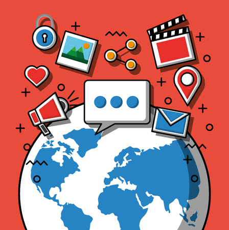 Social media technology devices wolrd with icons media share location photos chat vector illustration