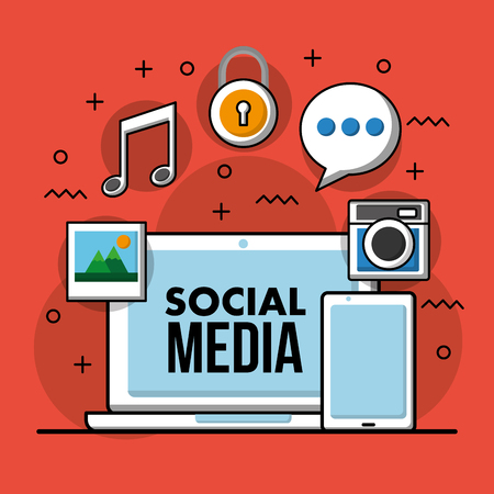 Social media technological laptop mobile music album speech bubble vector illustration Archivio Fotografico - 99337408