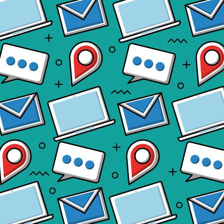 Social media laptop email speech bubble pointer background vector illustration Illustration