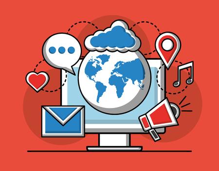 Social media global pc speaker email cloud navigation vector illustration Illustration