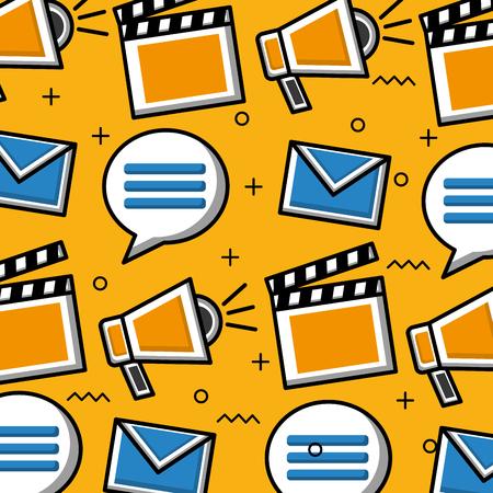 Social media background speaker video email bubbles chat vector illustration Illustration
